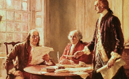 founding fathers Thomas Jefferson, Benjamin Franklin, James Madison